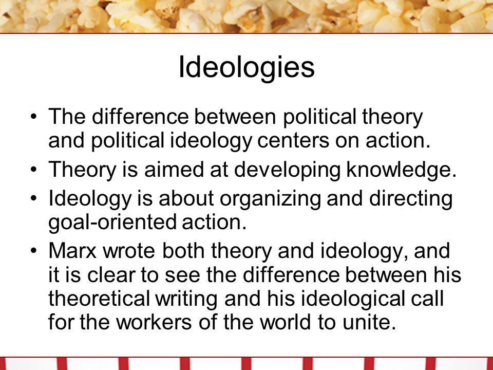 Ideologies The difference between political theory and political ideology centers on action. Theory is aimed at developing knowledge.