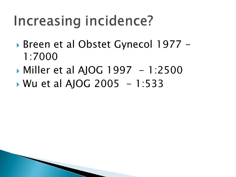 Increasing incidence Breen et al Obstet Gynecol 1977 - 1:7000