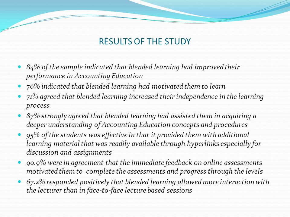 RESULTS OF THE STUDY 84% of the sample indicated that blended learning had improved their performance in Accounting Education.