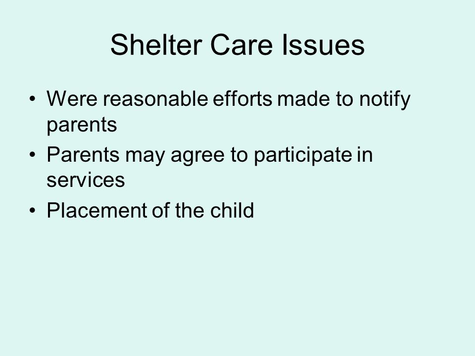 Shelter Care Issues Were reasonable efforts made to notify parents
