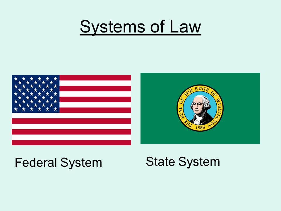 Systems of Law State System Federal System
