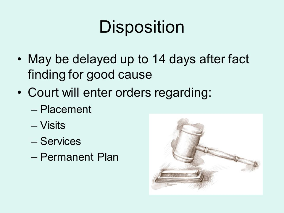 Disposition May be delayed up to 14 days after fact finding for good cause. Court will enter orders regarding: