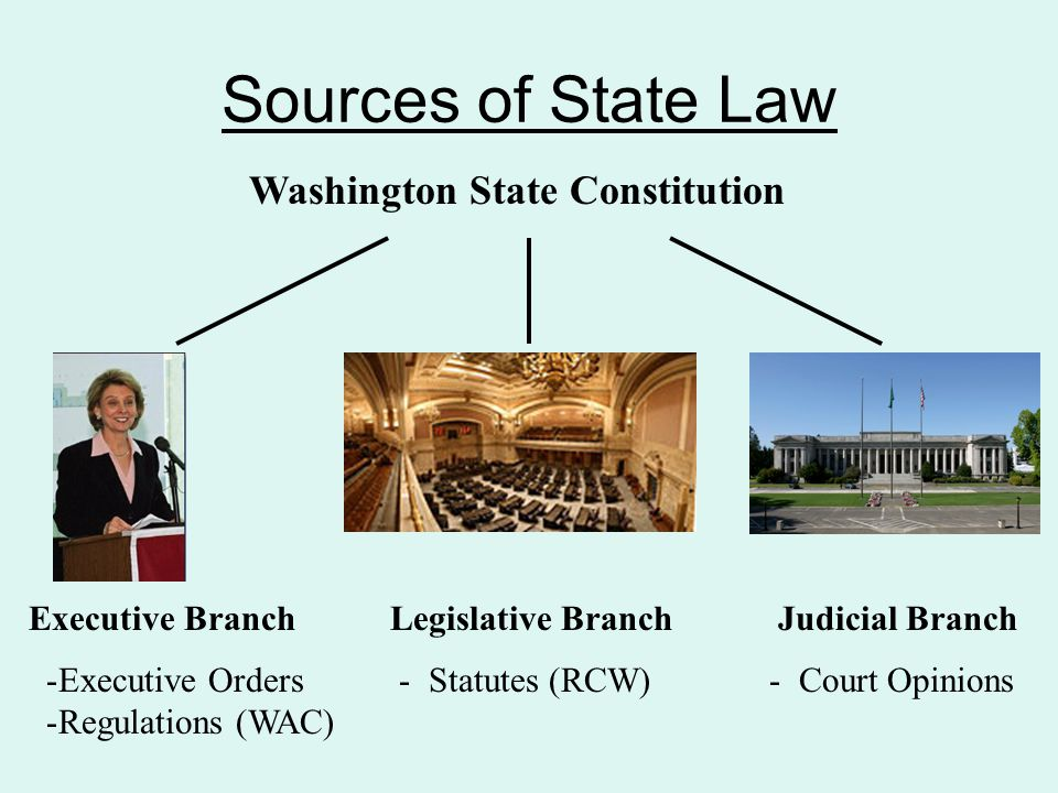Sources of State Law Washington State Constitution Executive Branch