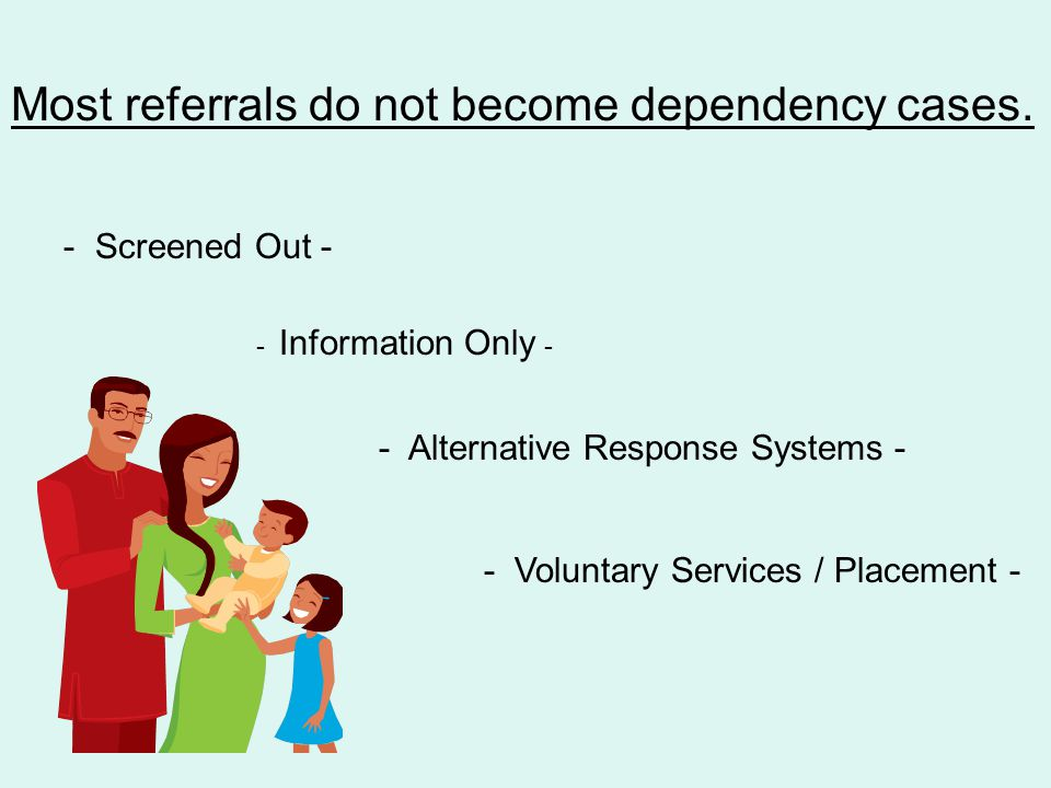 Most referrals do not become dependency cases.