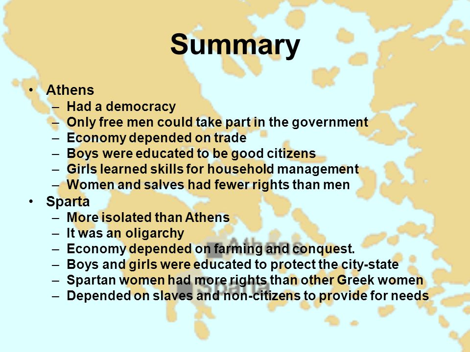 Summary Athens Sparta Had a democracy