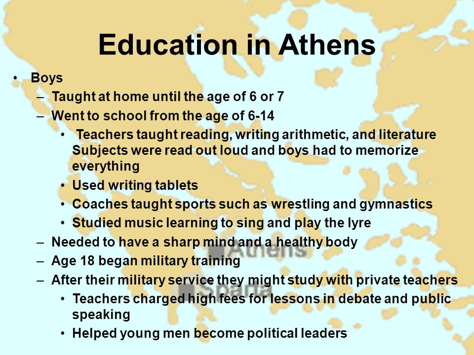 Education in Athens Boys Taught at home until the age of 6 or 7