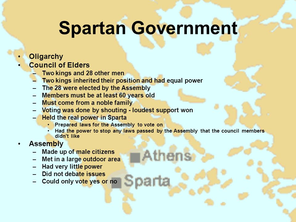 Spartan Government Oligarchy Council of Elders Assembly
