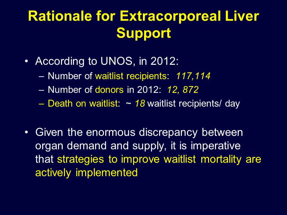 Rationale for Extracorporeal Liver Support