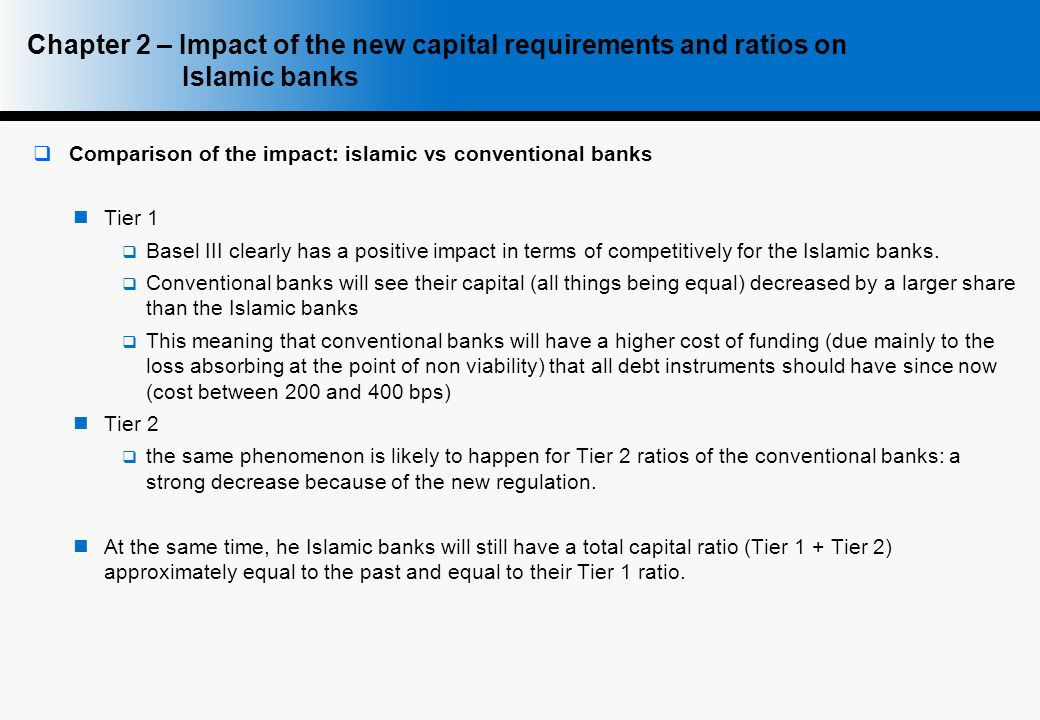 Chapter 2 – Impact of the new capital requirements and ratios on