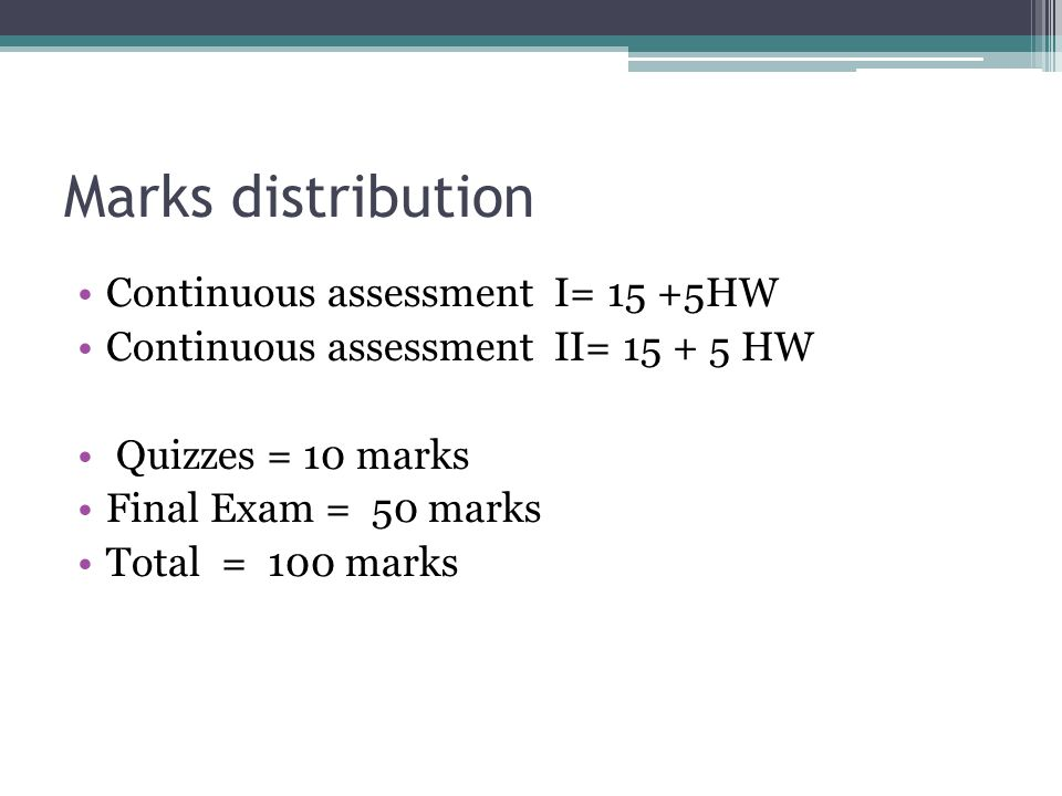 Marks distribution Continuous assessment I= 15 +5HW