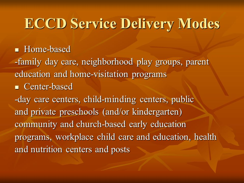 ECCD Service Delivery Modes
