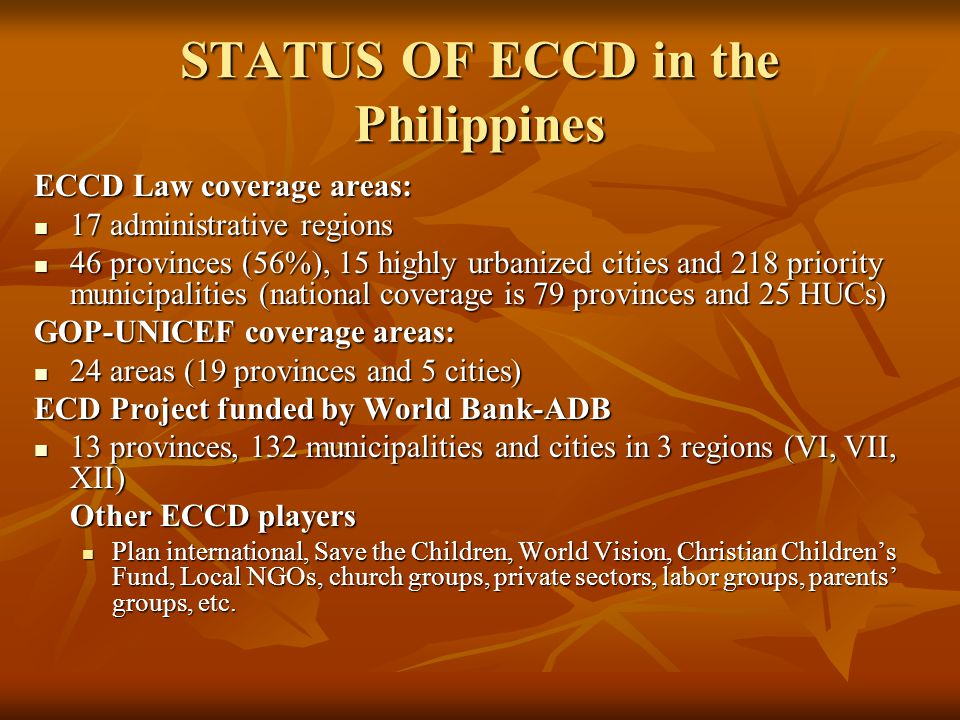 STATUS OF ECCD in the Philippines