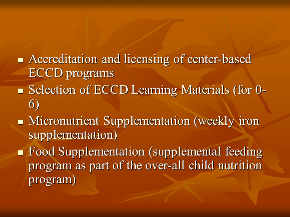 Accreditation and licensing of center-based ECCD programs