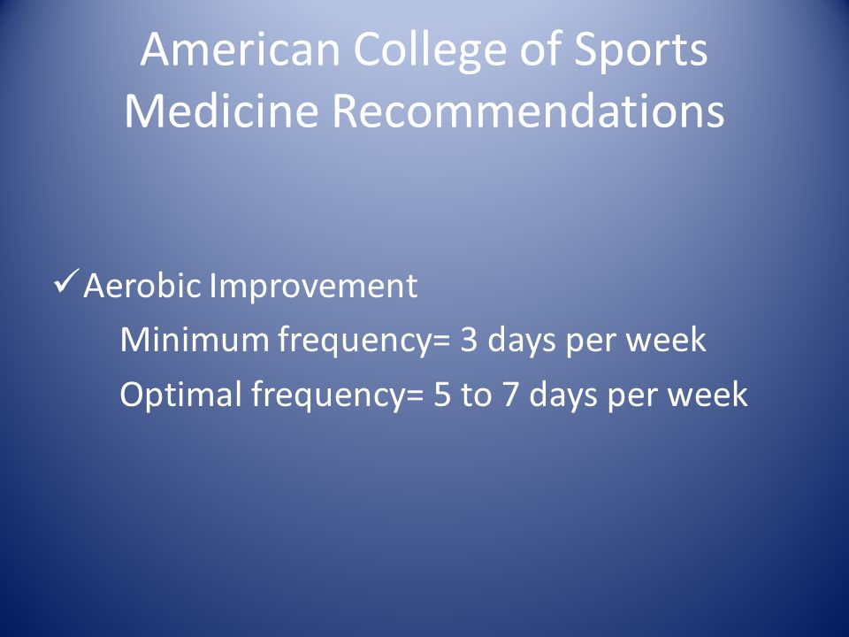 American College of Sports Medicine Recommendations