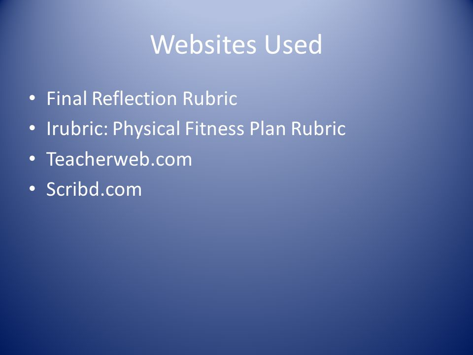 Websites Used Final Reflection Rubric