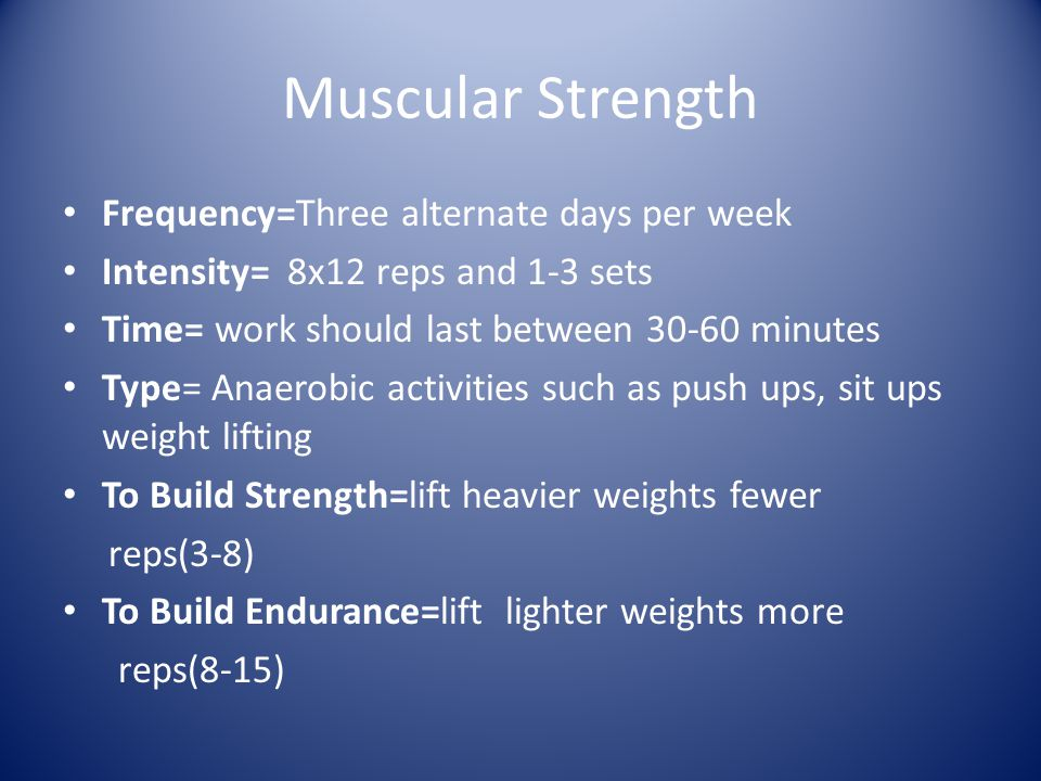 Muscular Strength Frequency=Three alternate days per week