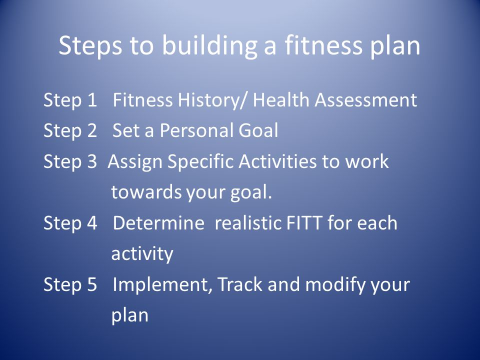 Steps to building a fitness plan