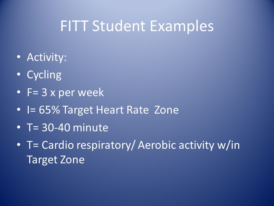 FITT Student Examples Activity: Cycling F= 3 x per week