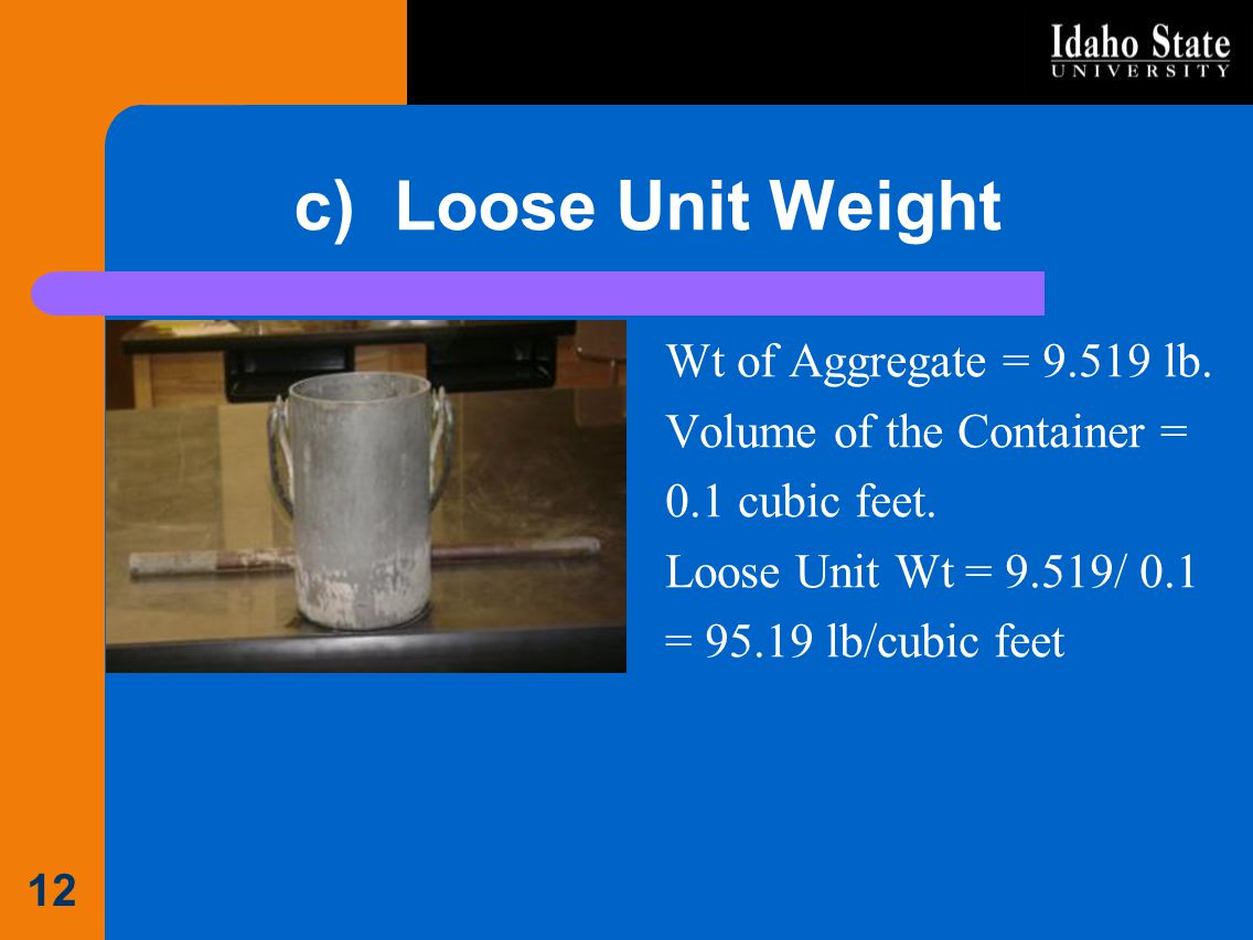 c) Loose Unit Weight Wt of Aggregate = 9.519 lb. Volume of the Container = 0.1 cubic feet. Loose Unit Wt = 9.519/ 0.1 = 95.19 lb/cubic feet