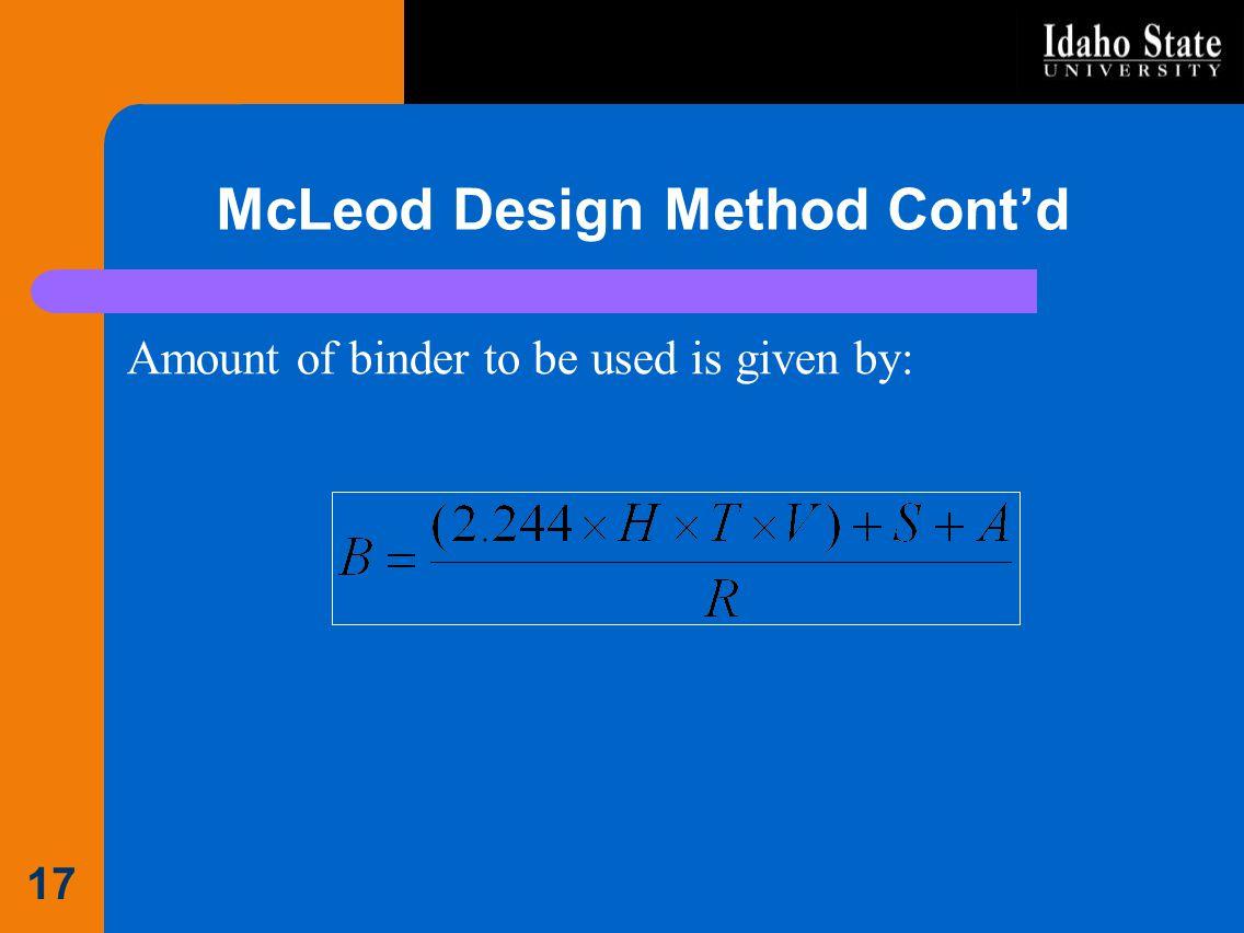 McLeod Design Method Cont'd