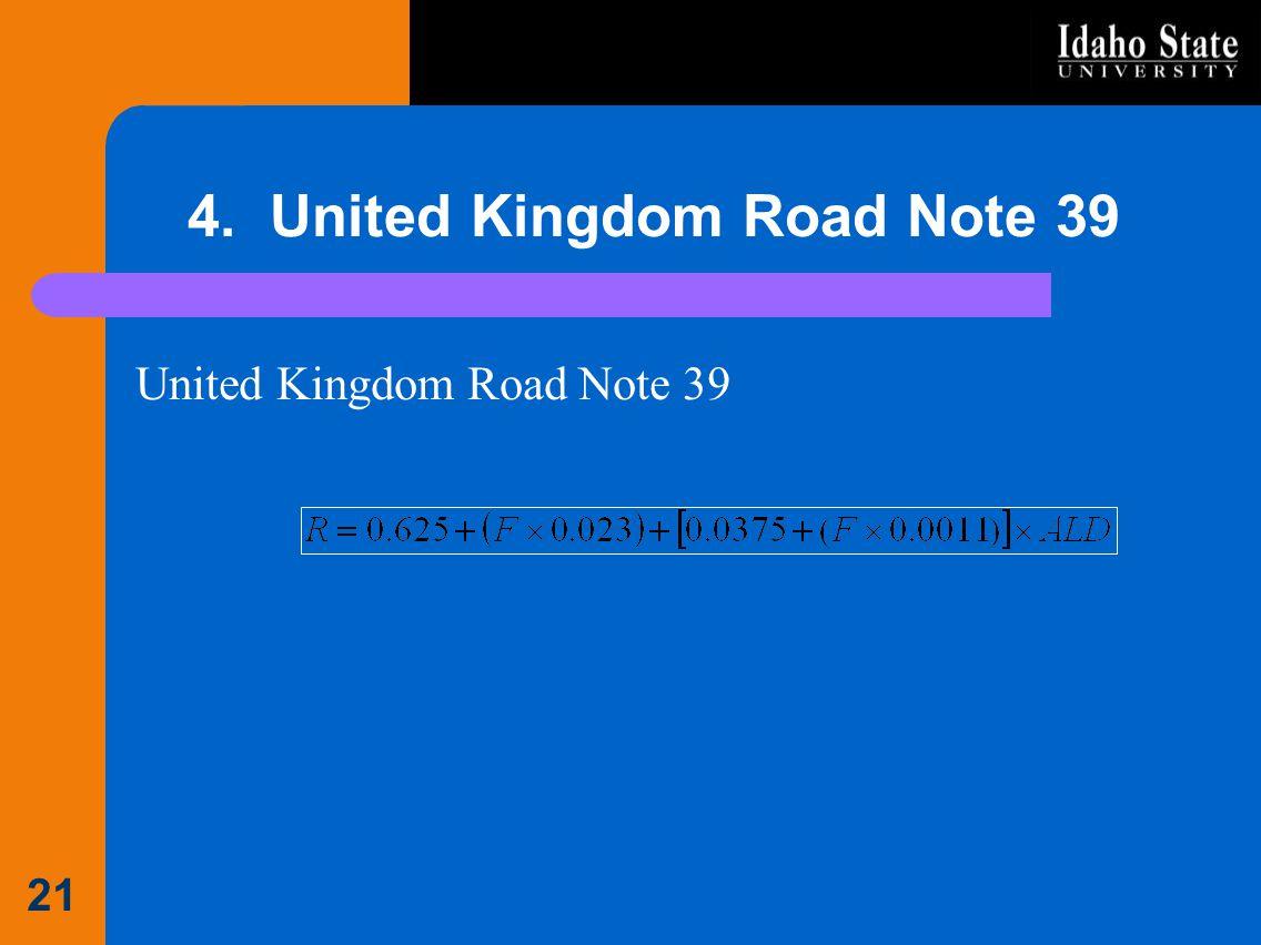 4. United Kingdom Road Note 39