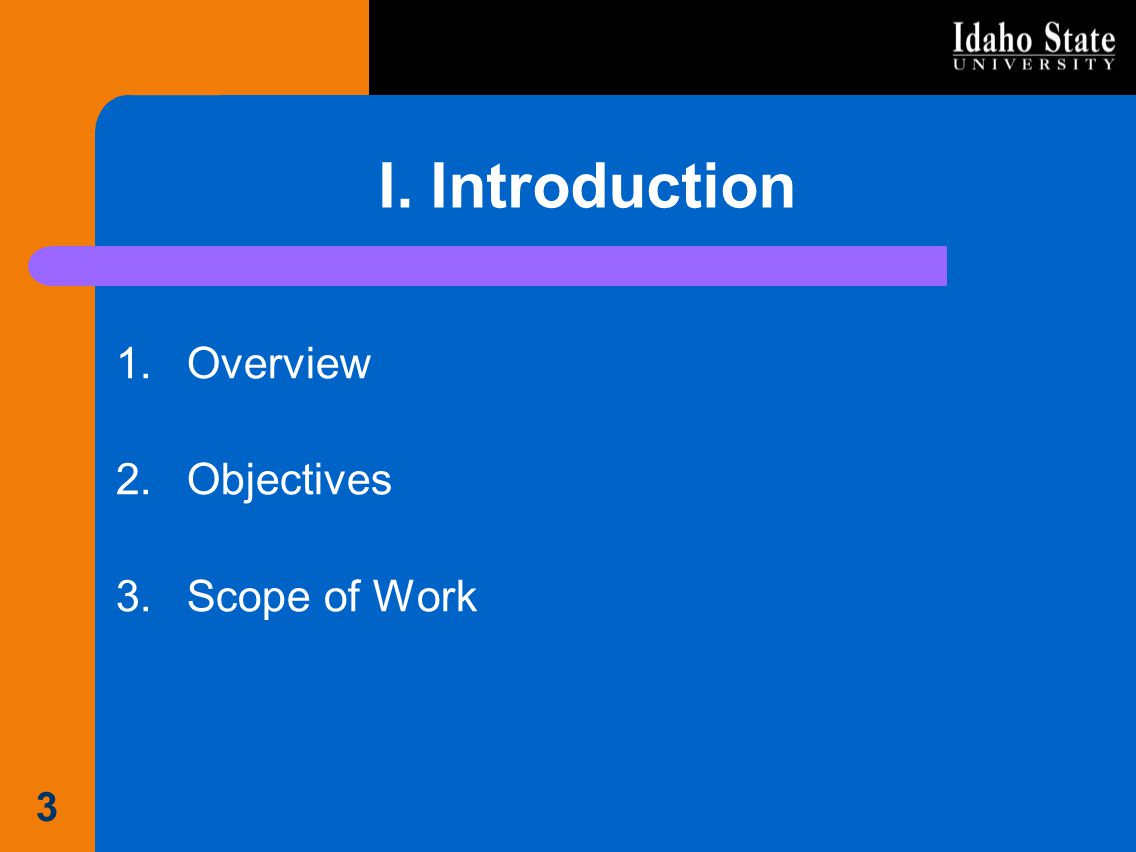 I. Introduction Overview Objectives Scope of Work