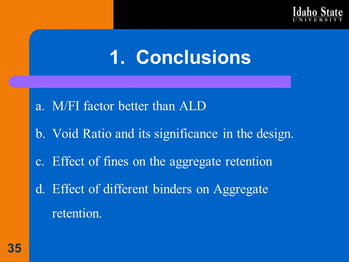 1. Conclusions M/FI factor better than ALD