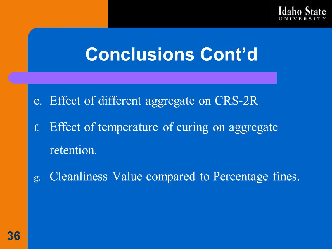 Conclusions Cont'd Effect of different aggregate on CRS-2R