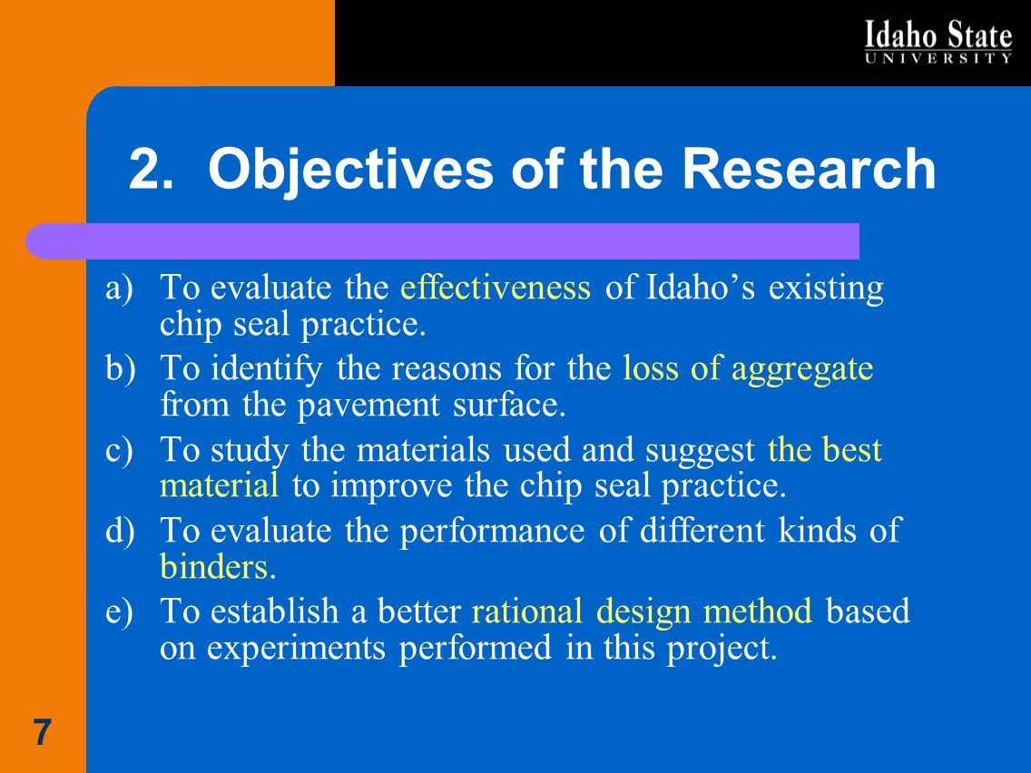 2. Objectives of the Research