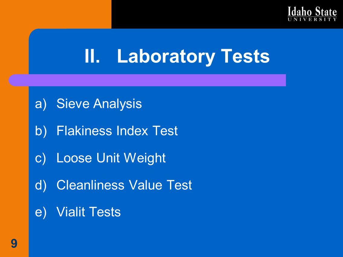 II. Laboratory Tests Sieve Analysis Flakiness Index Test