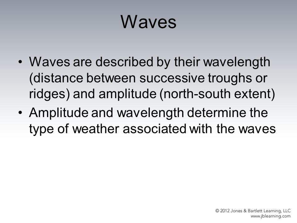 Waves Waves are described by their wavelength (distance between successive troughs or ridges) and amplitude (north-south extent)
