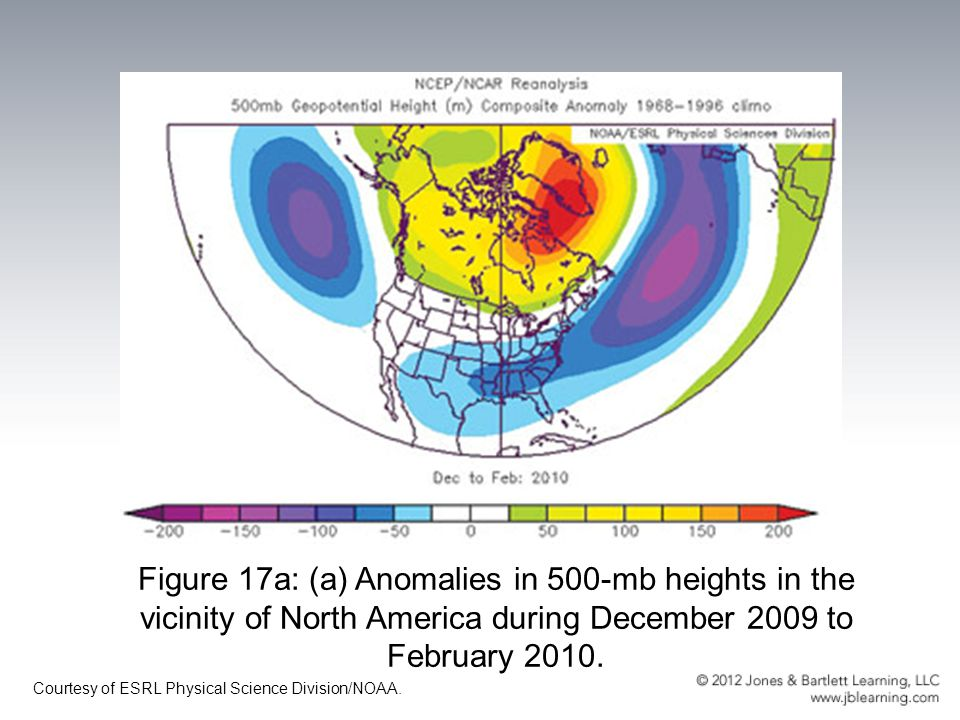 Figure 17a: (a) Anomalies in 500-mb heights in the vicinity of North America during December 2009 to February 2010.