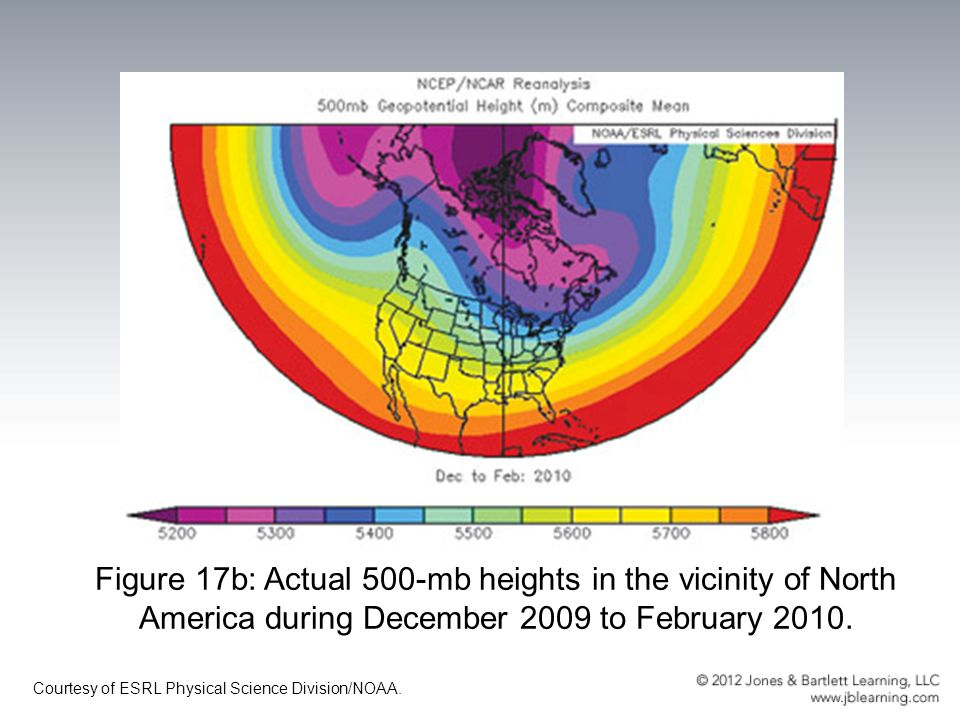 Figure 17b: Actual 500-mb heights in the vicinity of North America during December 2009 to February 2010.