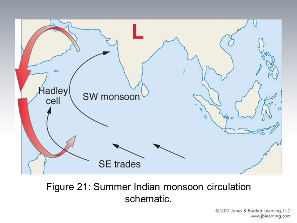 Figure 21: Summer Indian monsoon circulation schematic.
