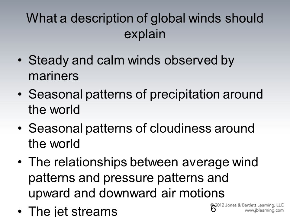 What a description of global winds should explain