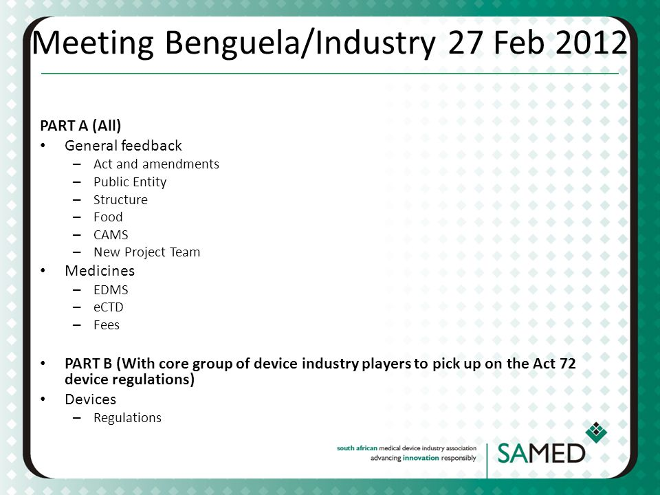Meeting Benguela/Industry 27 Feb 2012