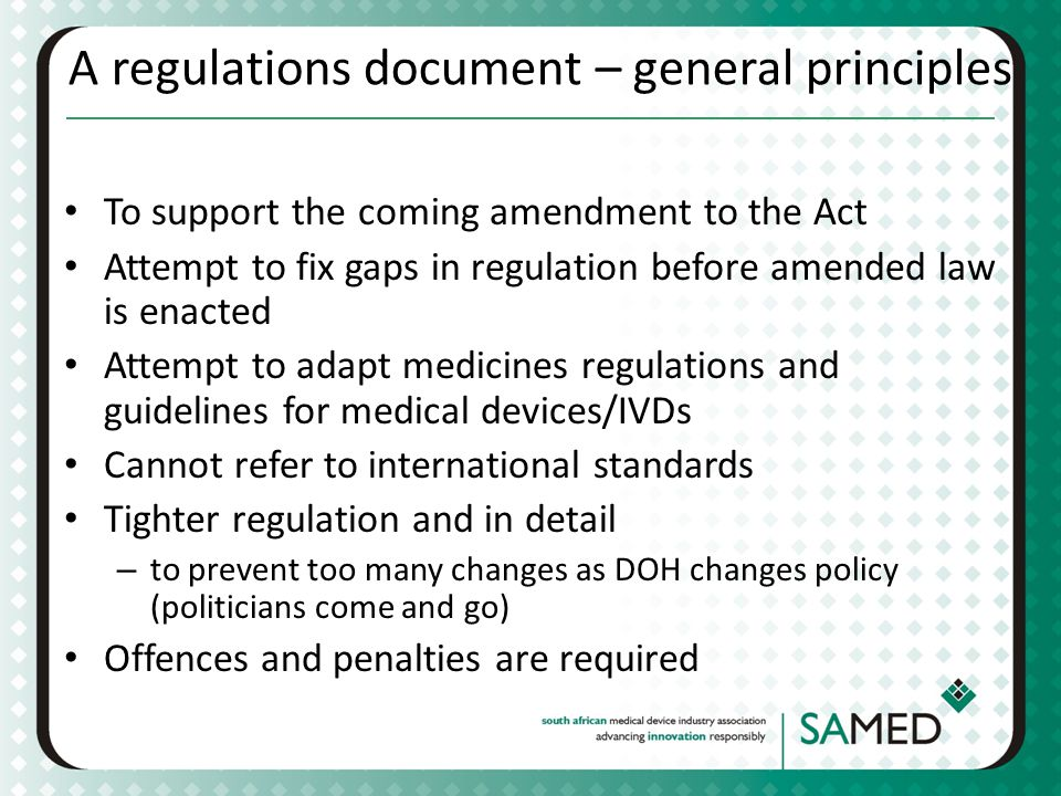 A regulations document – general principles