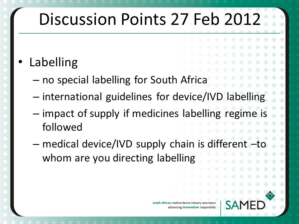 Discussion Points 27 Feb 2012 Labelling