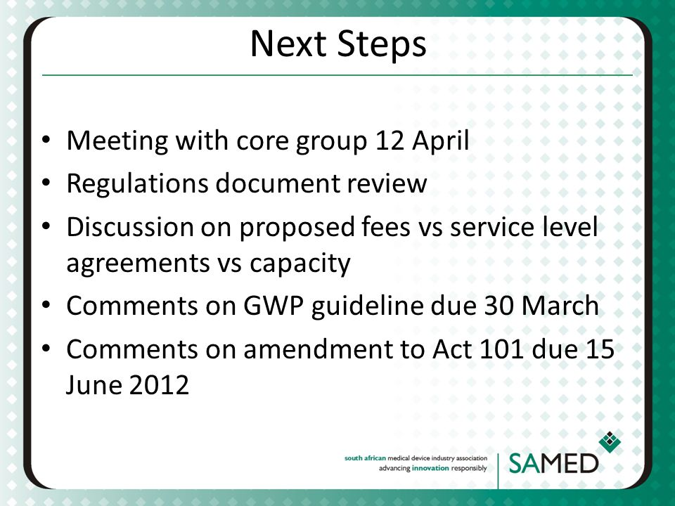 Next Steps Meeting with core group 12 April