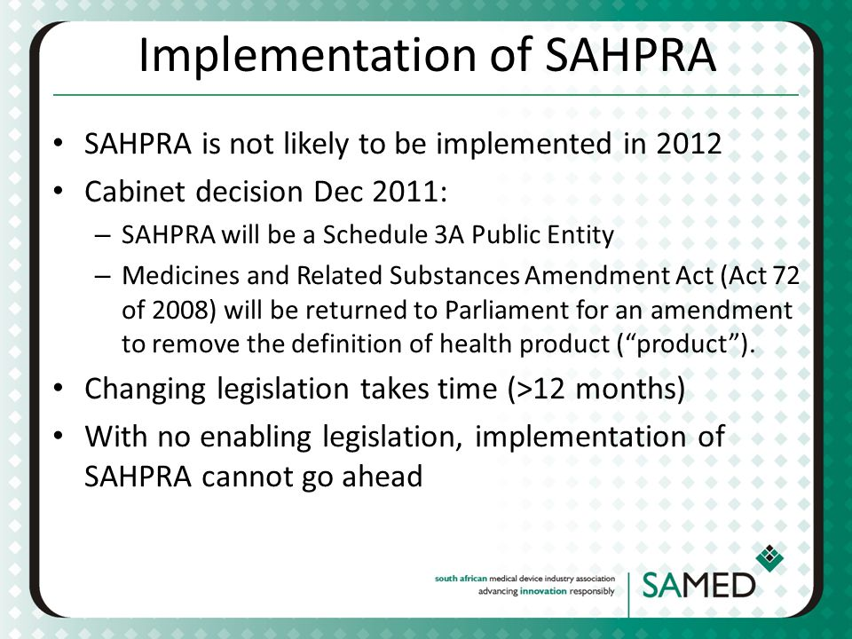 Implementation of SAHPRA