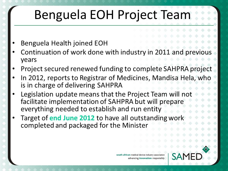 Benguela EOH Project Team