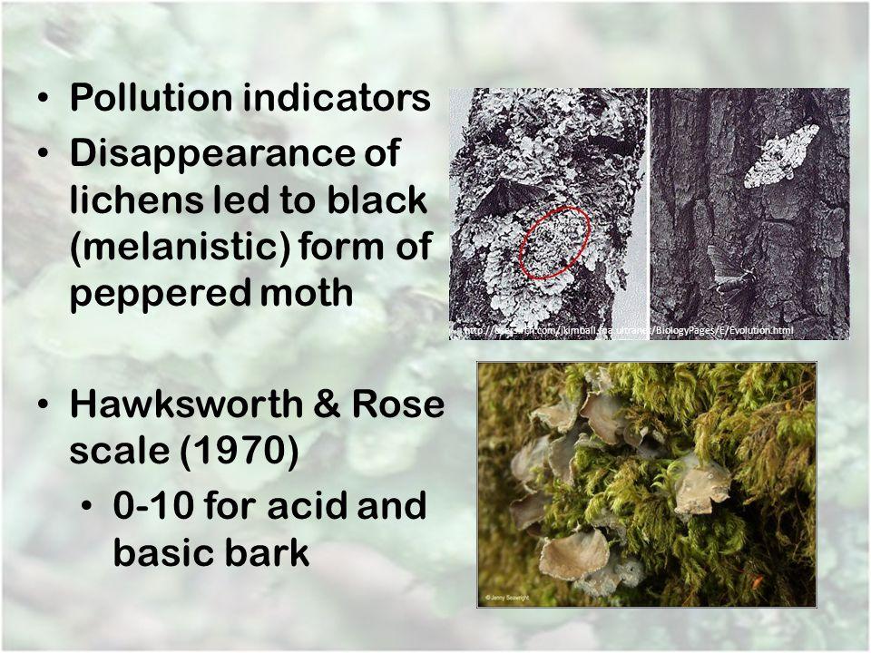 Hawksworth & Rose scale (1970) 0-10 for acid and basic bark