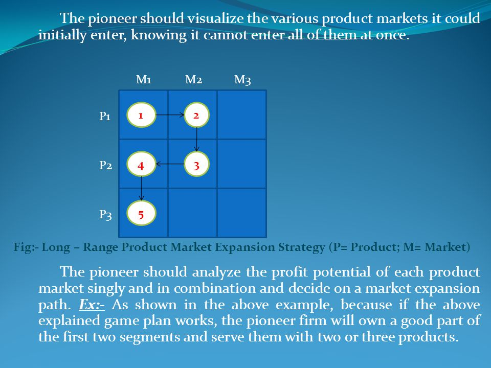 The pioneer should visualize the various product markets it could initially enter, knowing it cannot enter all of them at once.