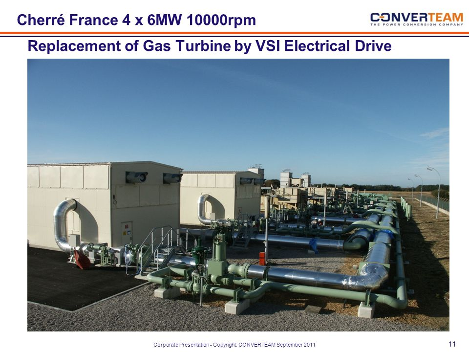 Cherré France 4 x 6MW 10000rpm Replacement of Gas Turbine by VSI Electrical Drive