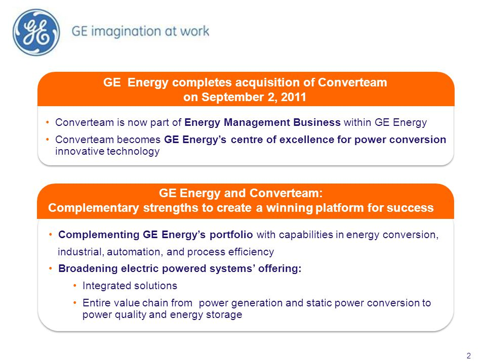 GE Energy completes acquisition of Converteam on September 2, 2011