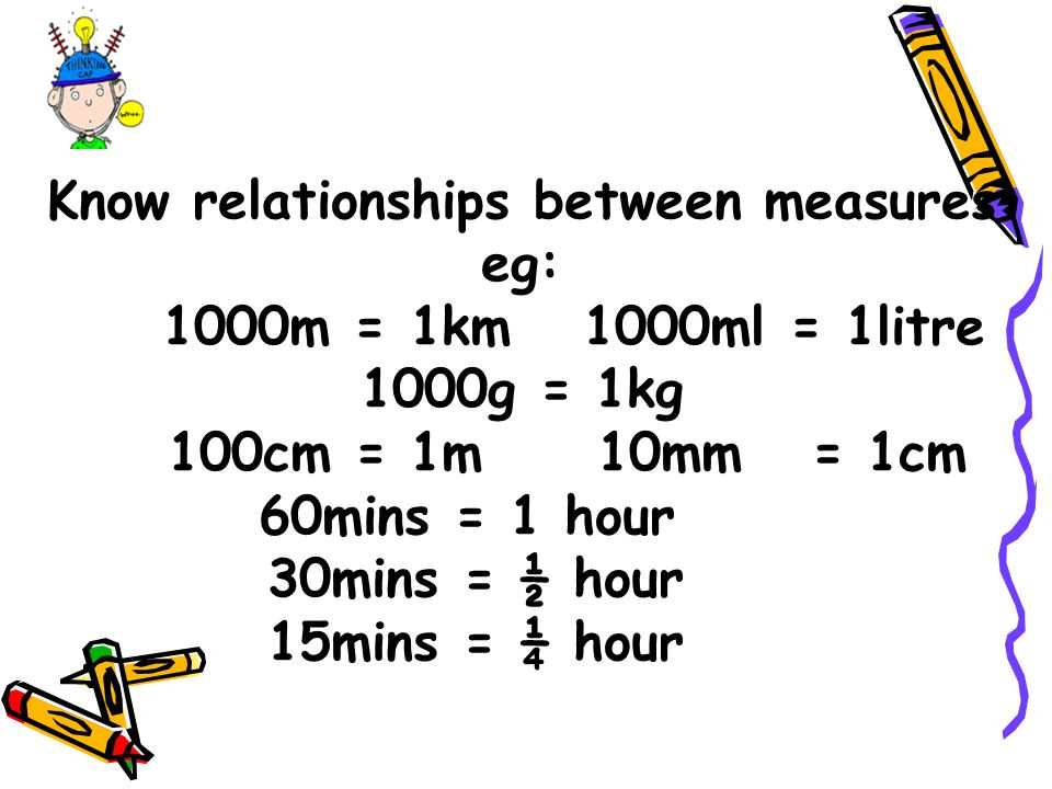 Know relationships between measures eg: