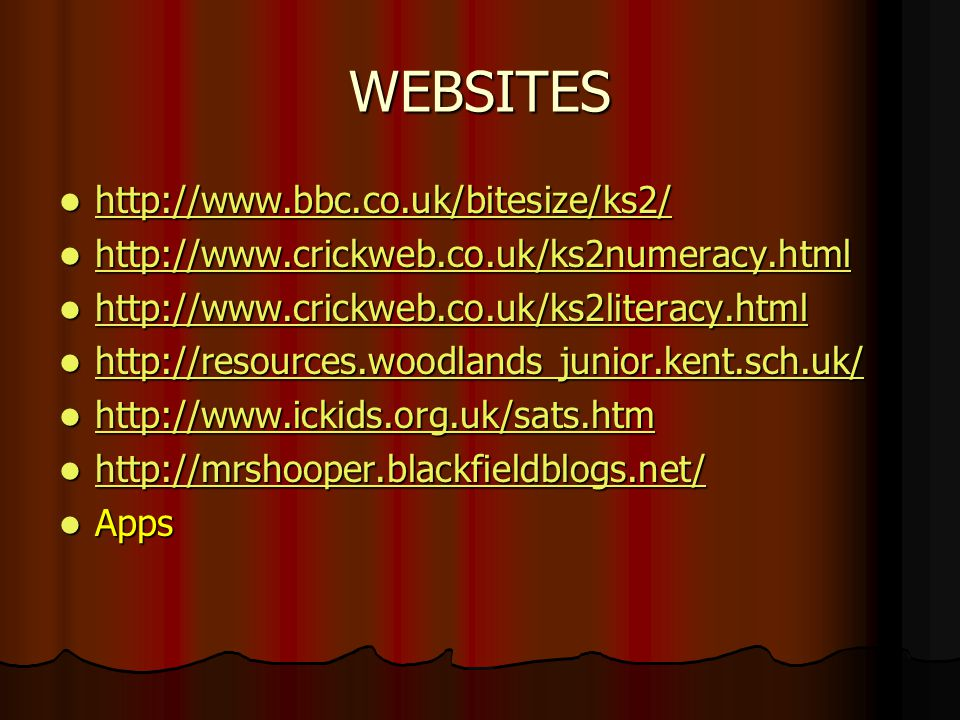 WEBSITES http://www.bbc.co.uk/bitesize/ks2/