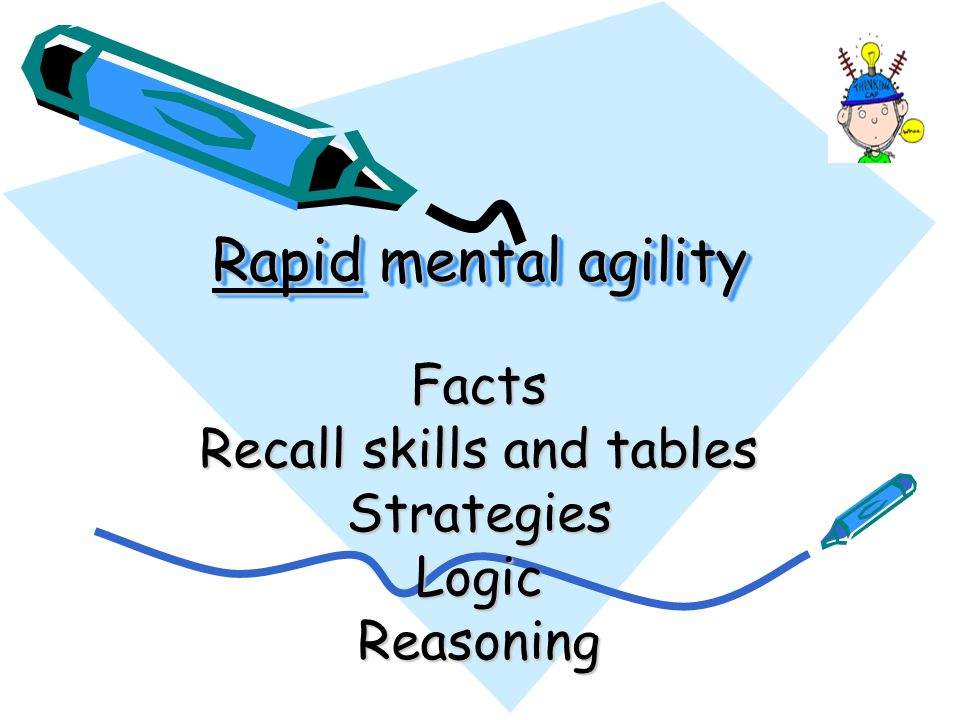 Facts Recall skills and tables Strategies Logic Reasoning