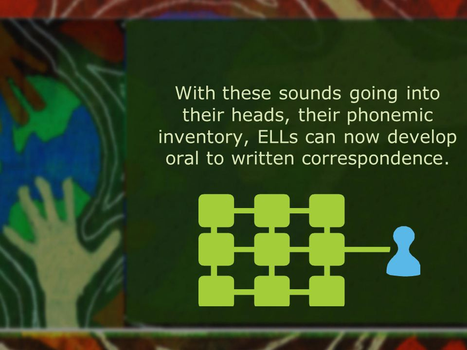 With these sounds going into their heads, their phonemic inventory, ELLs can now develop oral to written correspondence.