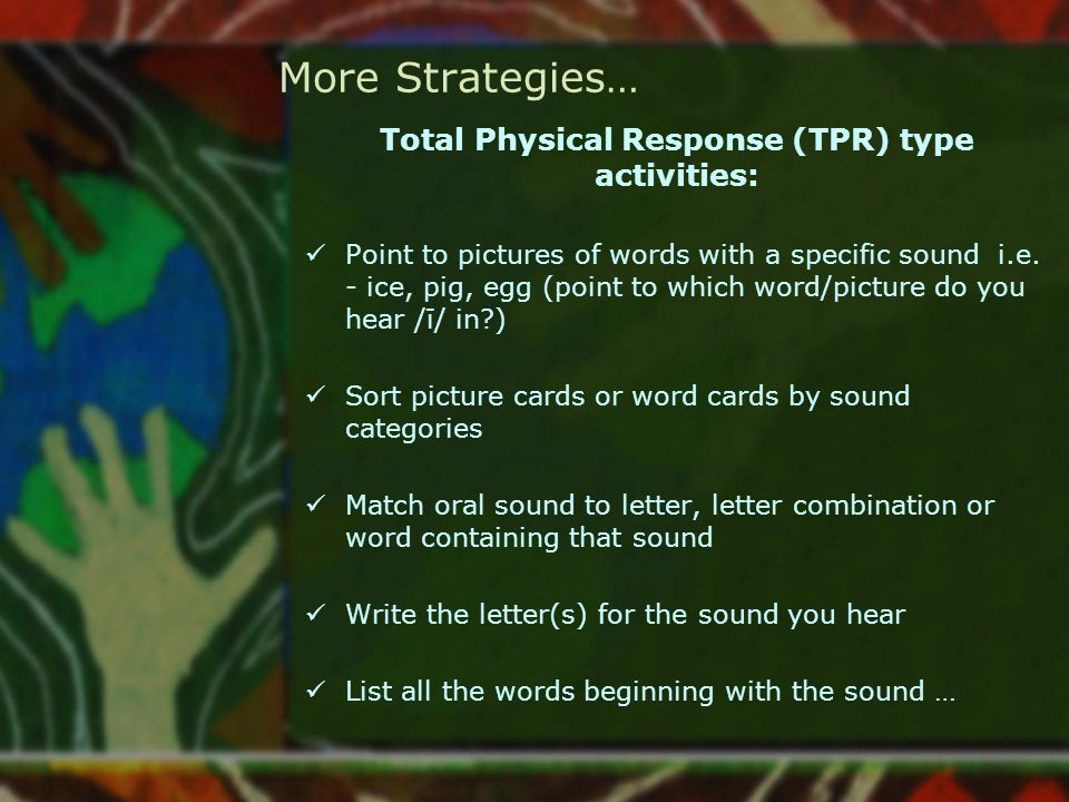 Total Physical Response (TPR) type activities:
